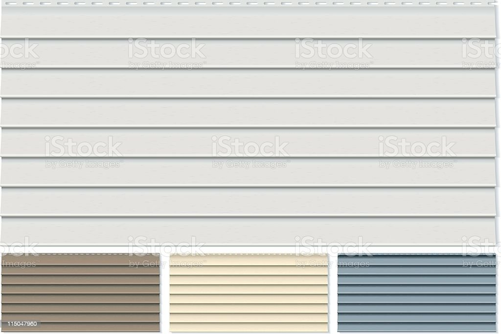 Vinyl Siding Clapboard Sample Set Done in Four Different Colors vector art illustration