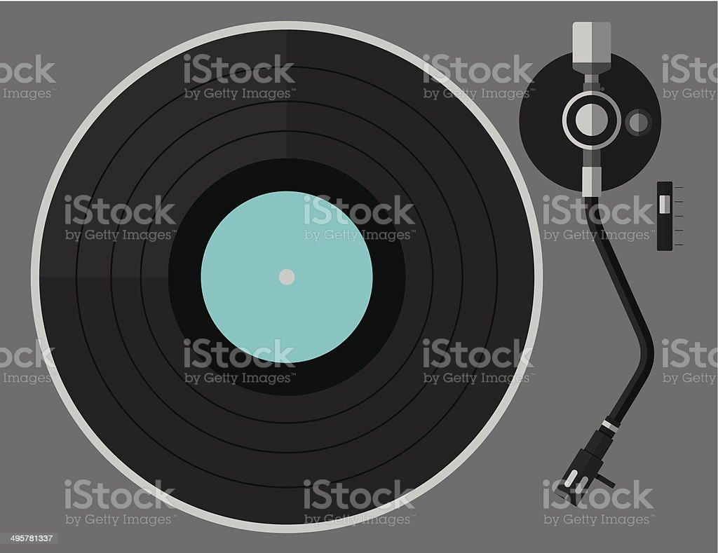 Vinyl turntable, flat design vector art illustration