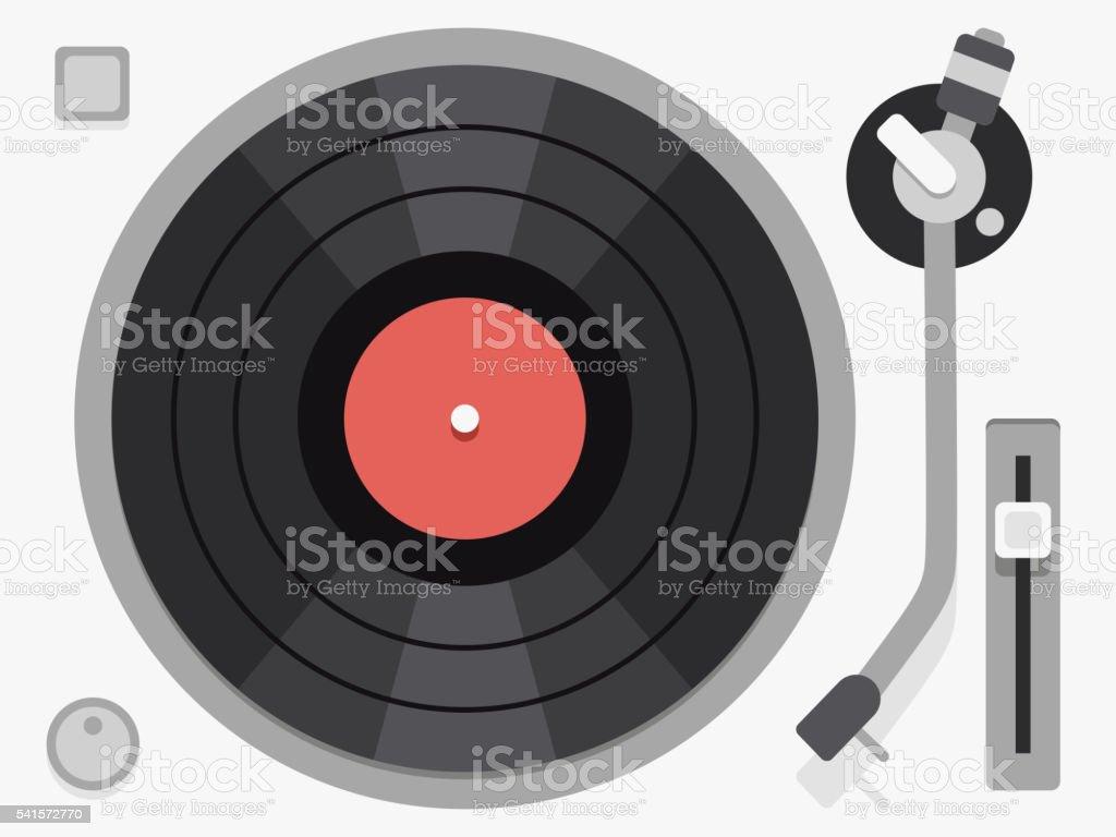 Vinyl turntable. Flat vector illustration vector art illustration