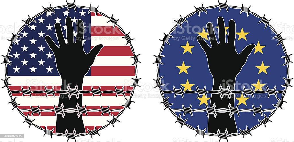 Violation of human rights in USA and EU royalty-free stock vector art