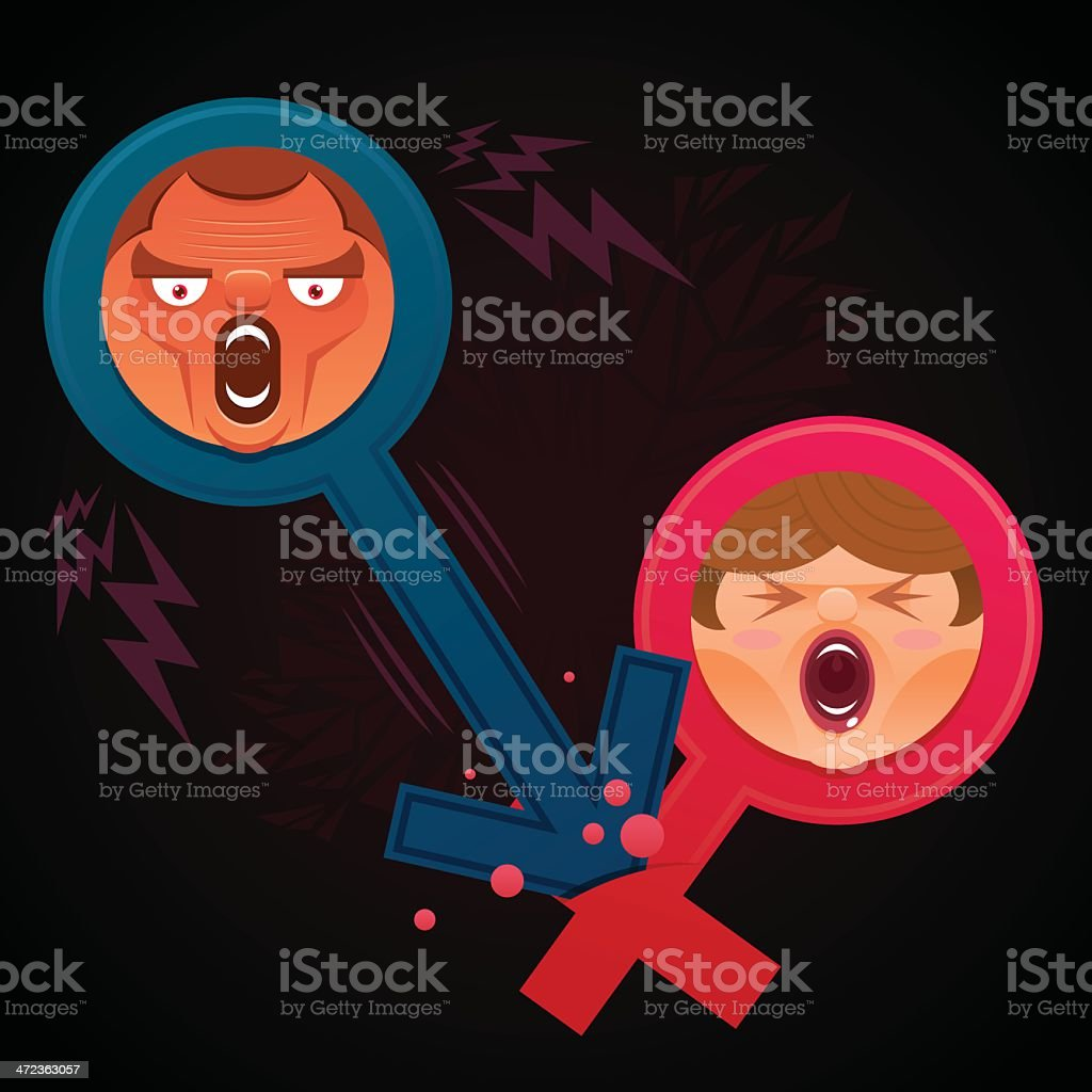 Violence between man and woman vector art illustration