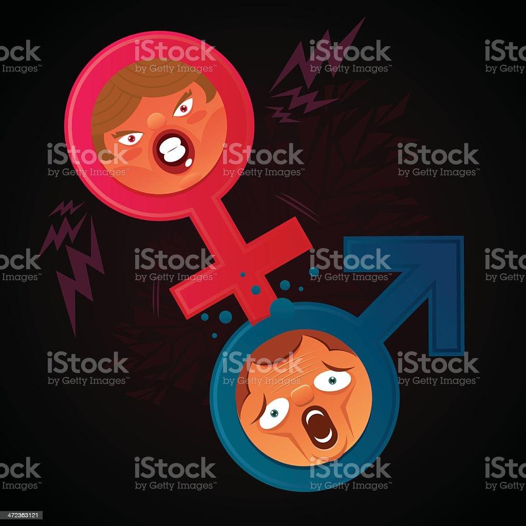 Violence between woman and men vector art illustration