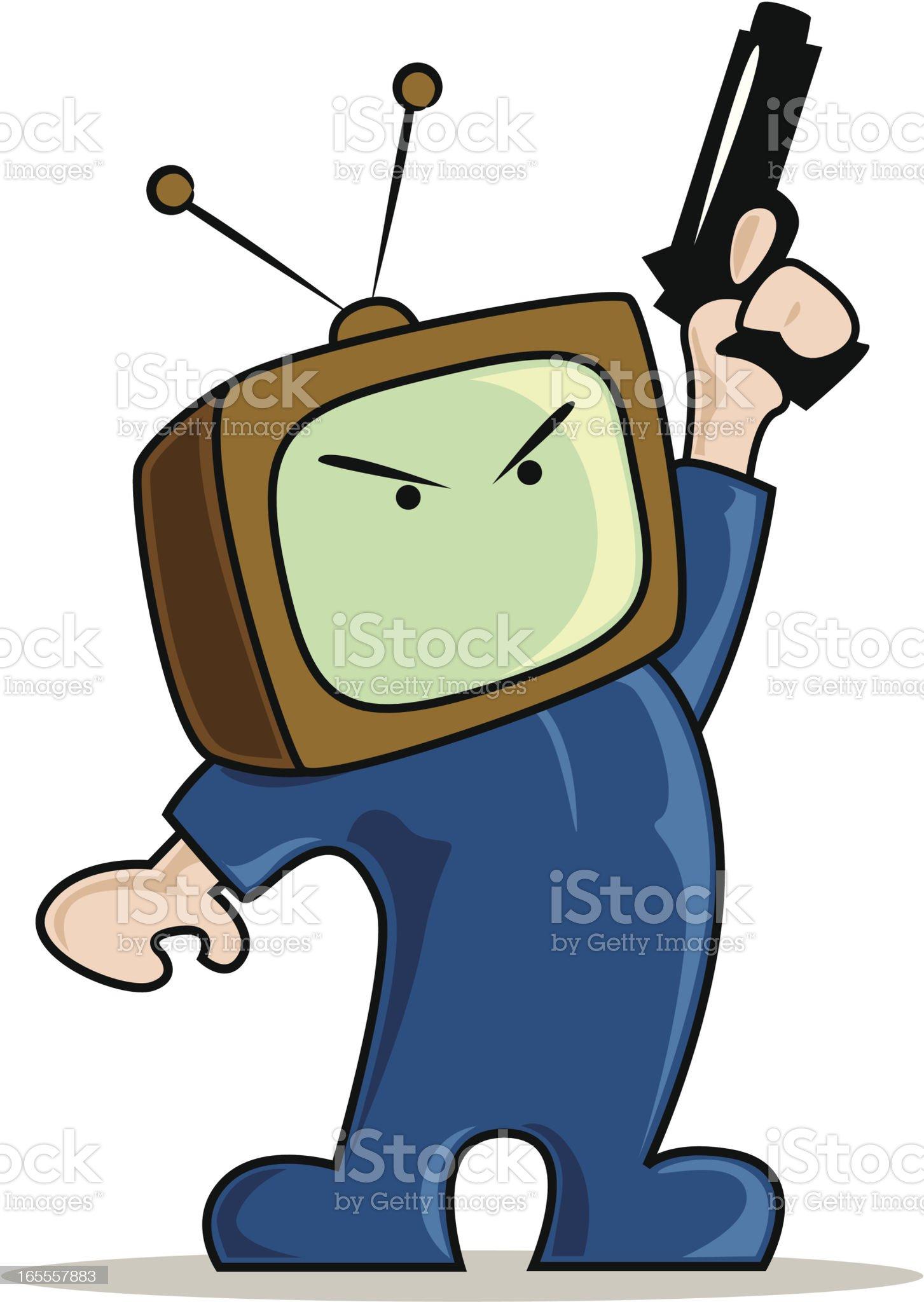 TV Violence Cartoon royalty-free stock vector art