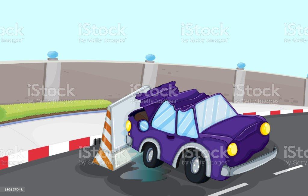 violet car bumping the traffic cone at road royalty-free stock vector art