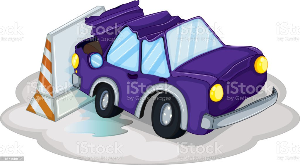 violet car bumping the traffic cone royalty-free stock vector art