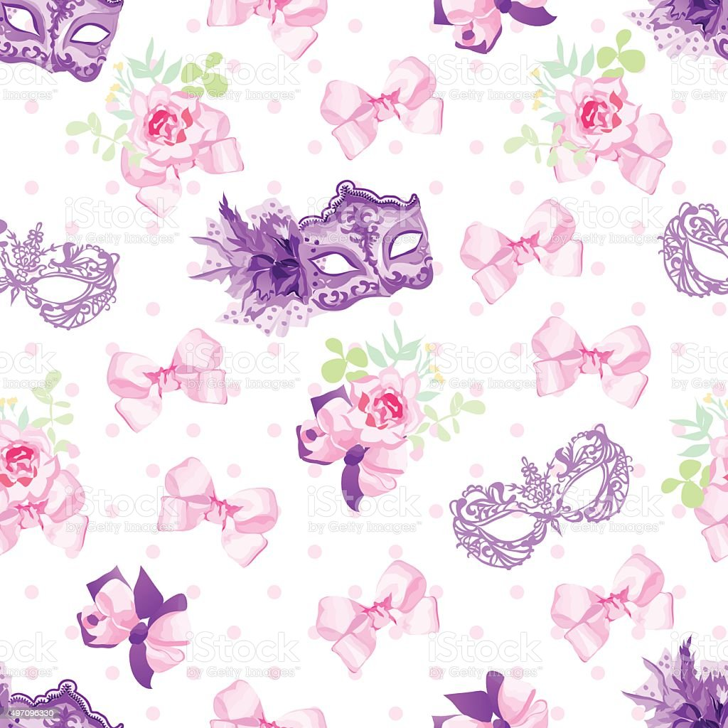 Violet carnival masks, small bouquets with bows seamless vector pattern vector art illustration