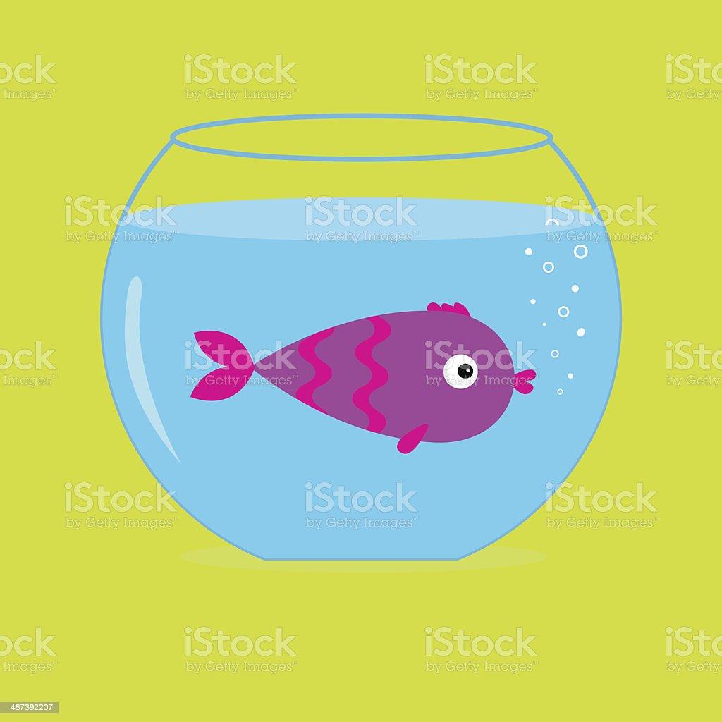 Violet  fish in the aquarium. Card. royalty-free stock vector art