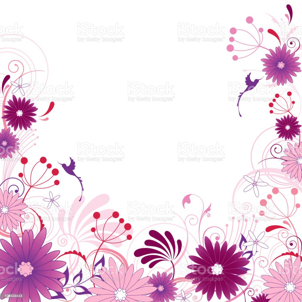 violet floral background with ornament royalty-free stock vector art