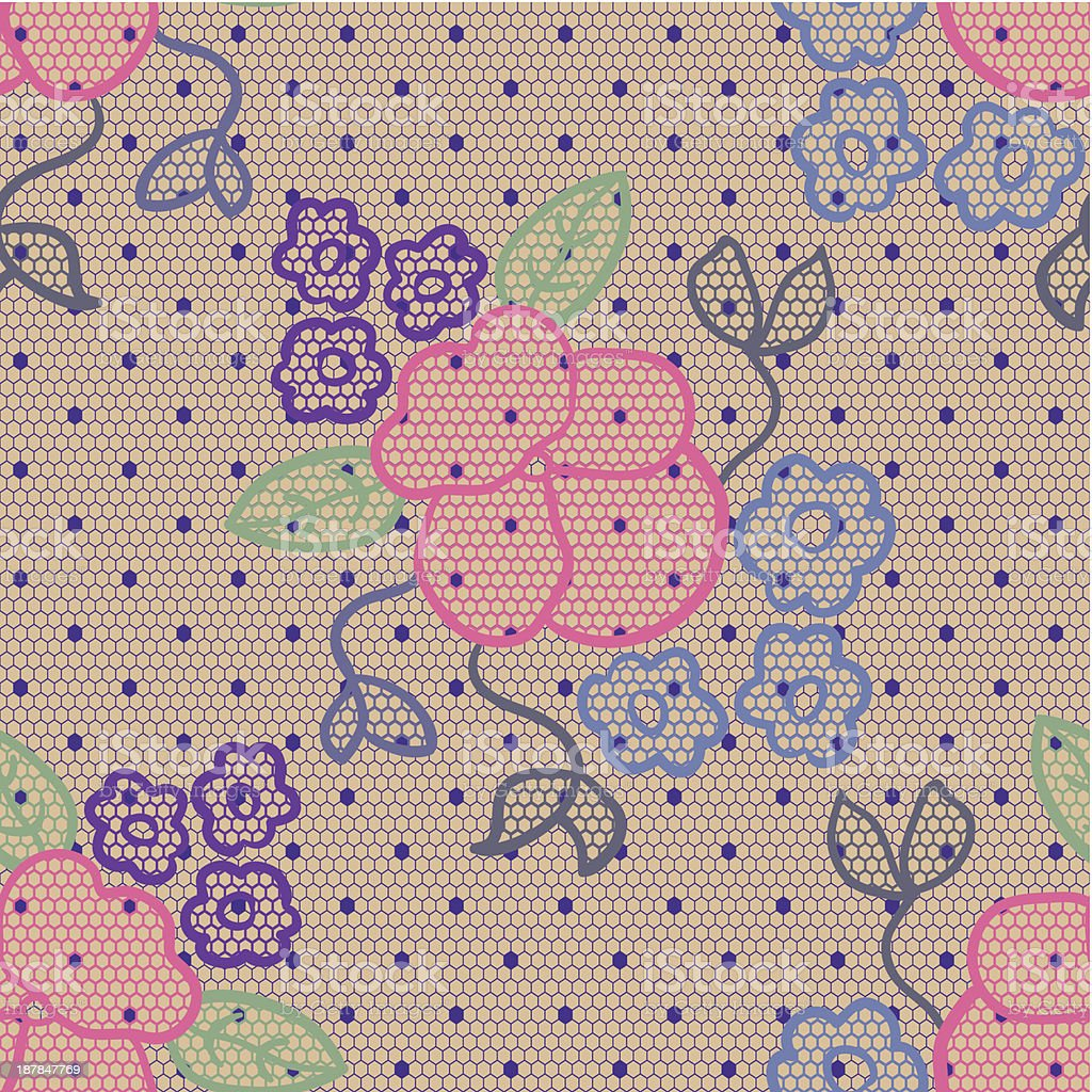 Violet lace vector fabric seamless pattern royalty-free stock vector art
