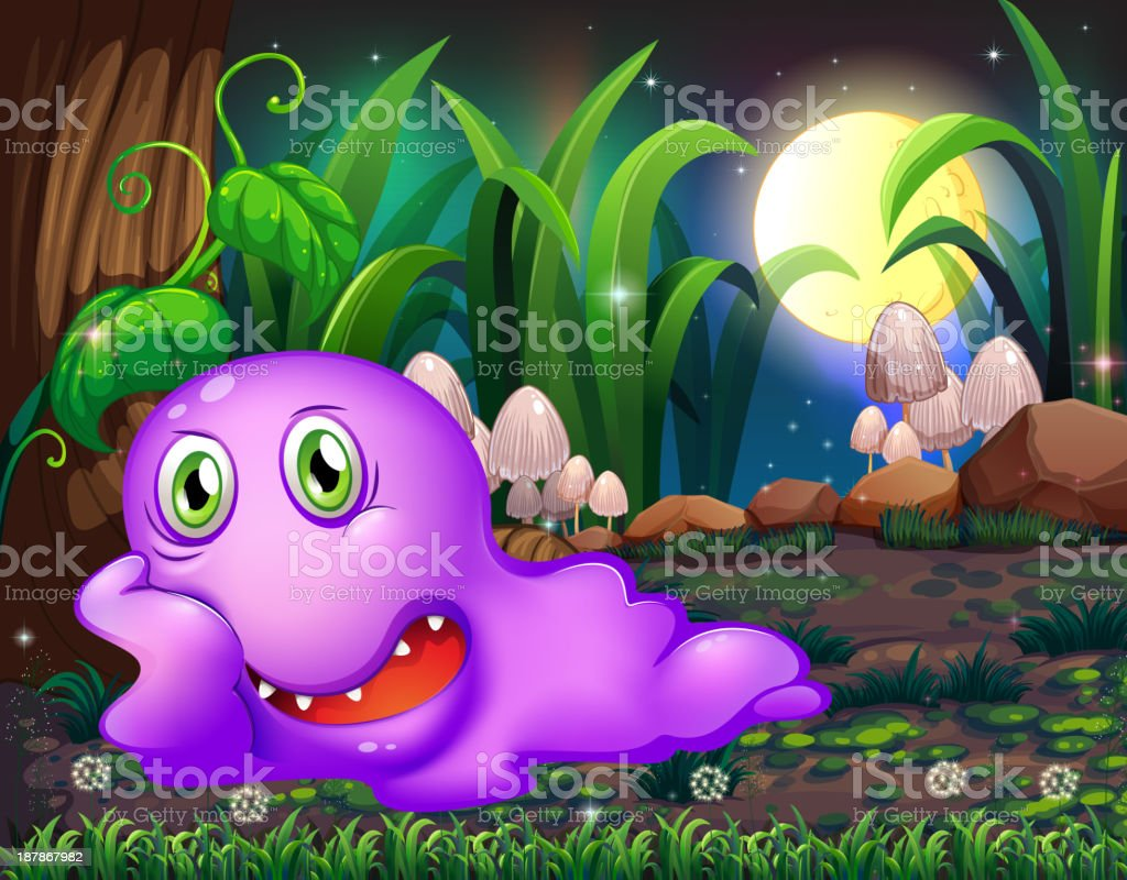 violet monster resting under tree in middle of night royalty-free stock vector art