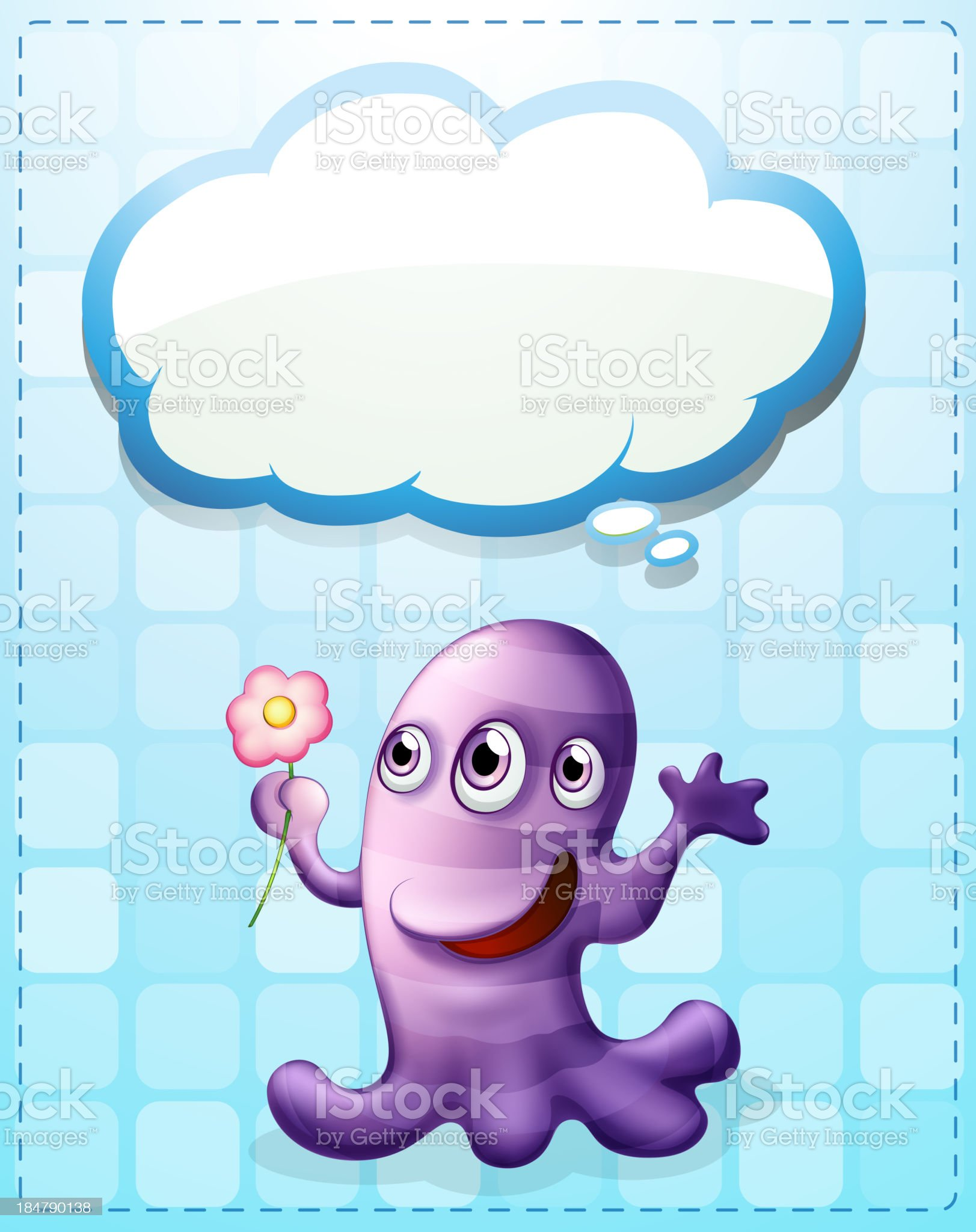 violet monster with an empty callout royalty-free stock vector art