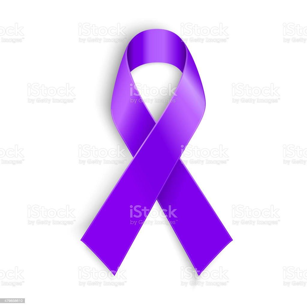Violet ribbon as symbol of Hodgkin Disease awareness vector art illustration