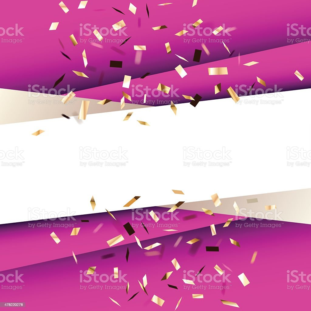 Violet square background with golden flying graphic elements. vector art illustration