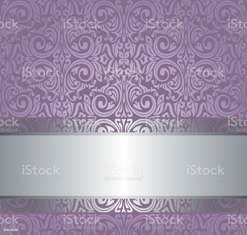 Violet vintage wallpaper invitation design with copy space vector art illustration