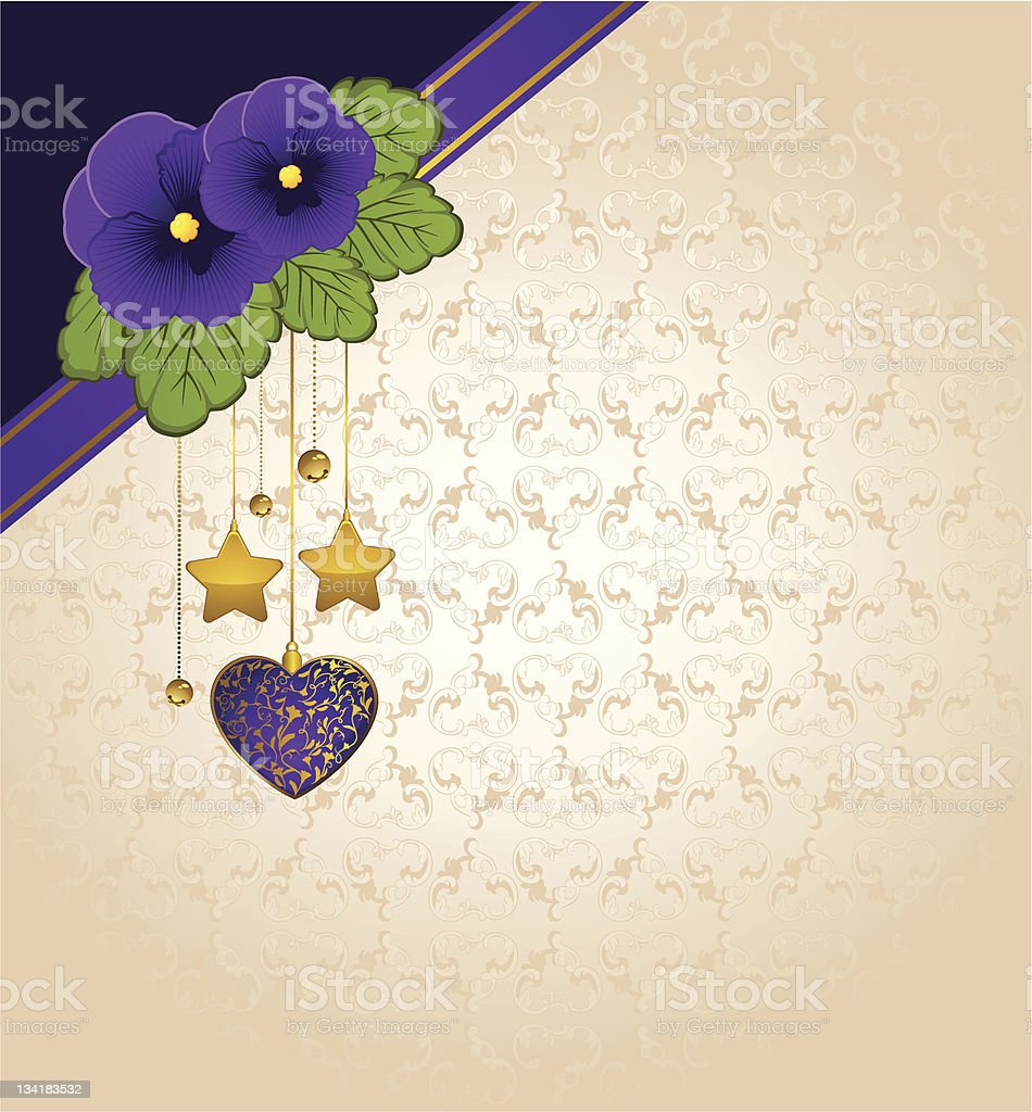 Violets with lace ornaments on background. Vector royalty-free stock vector art