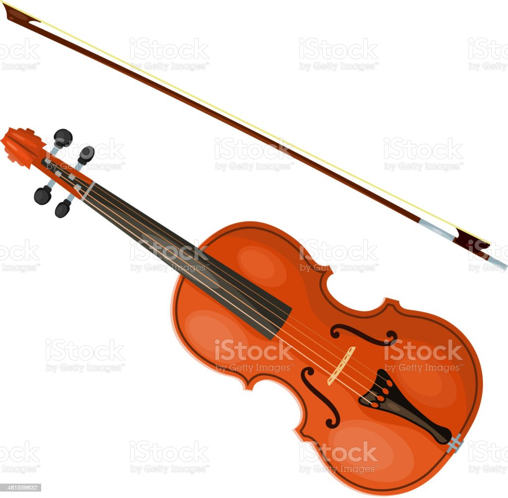 Violin and bow isolated on white background. Vector illustration vector art illustration