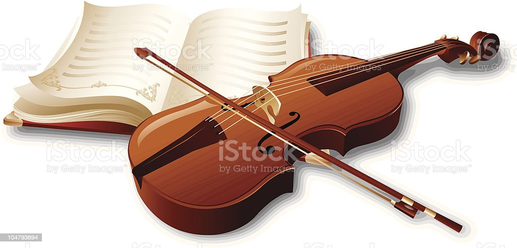 Violin and music book royalty-free stock vector art