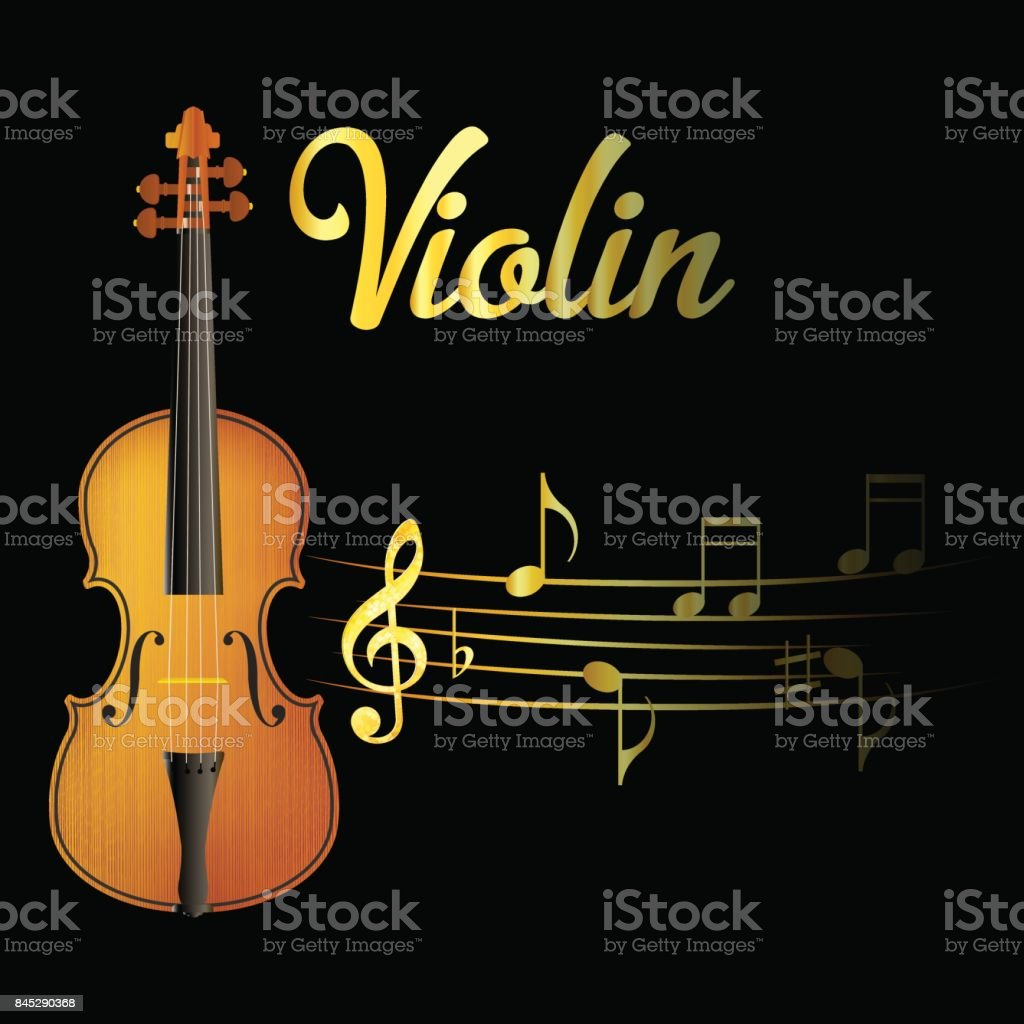Violin and music note isolated black background. Vector illustration.