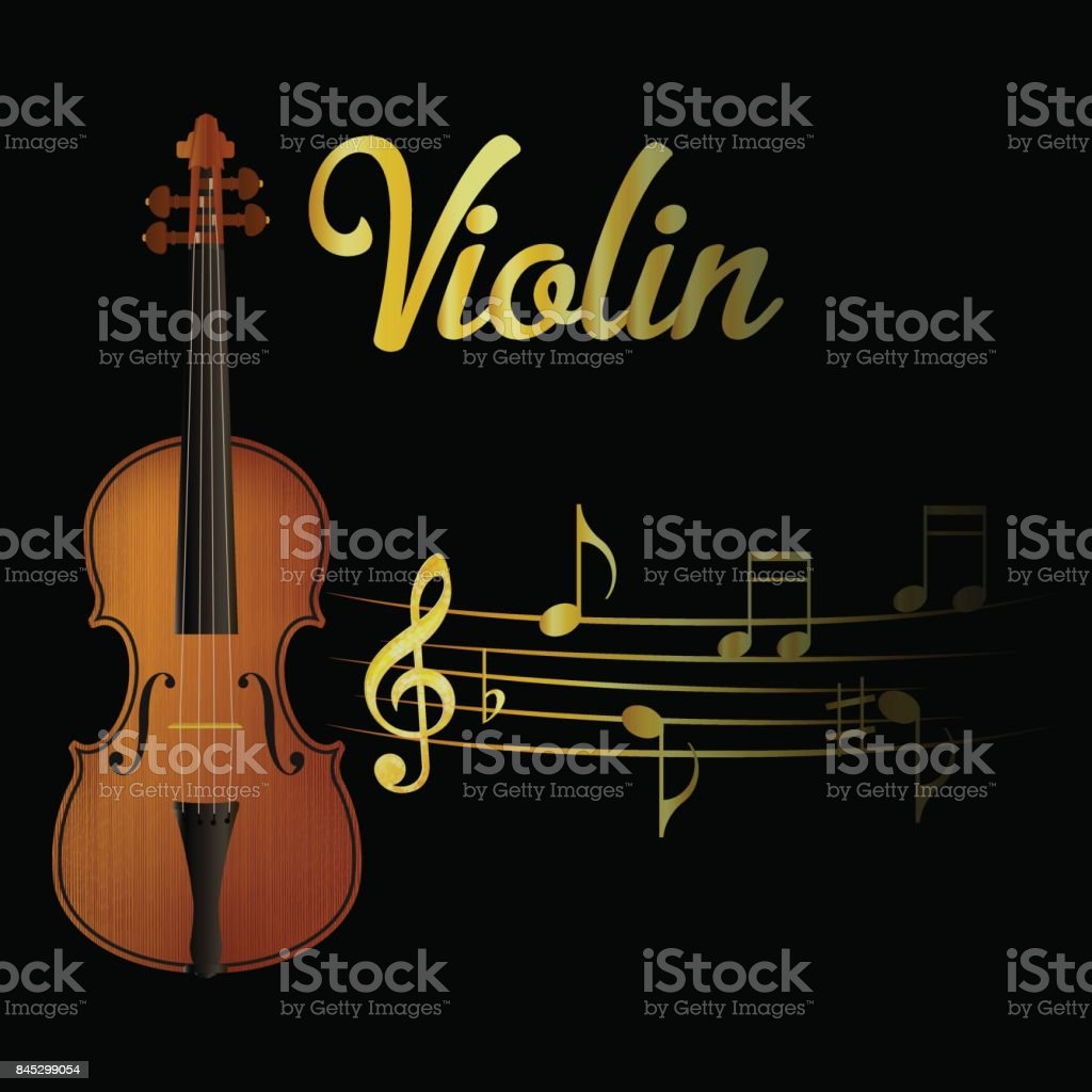 Violin and music note vector art illustration