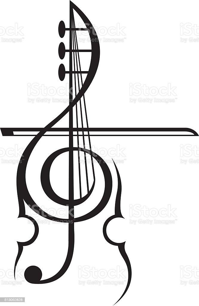 violin and treble clef stock vector art 513052828