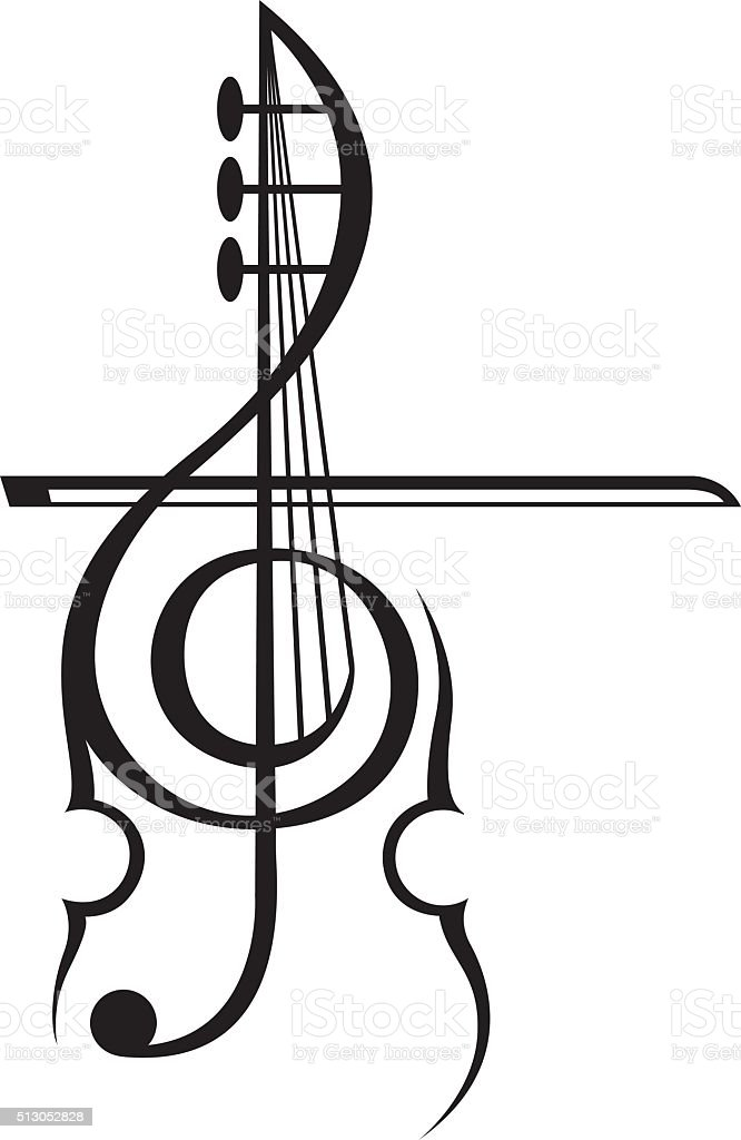 violin and treble clef vector art illustration