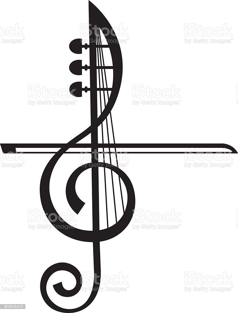 violin and treble clef vector art illustration
