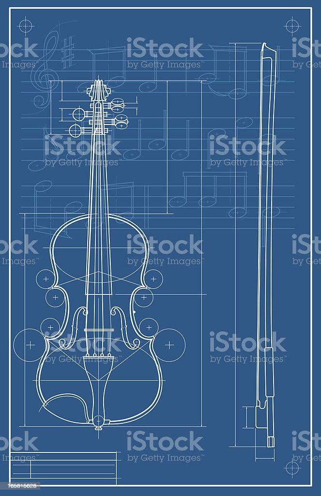 Violin Blueprint vector art illustration