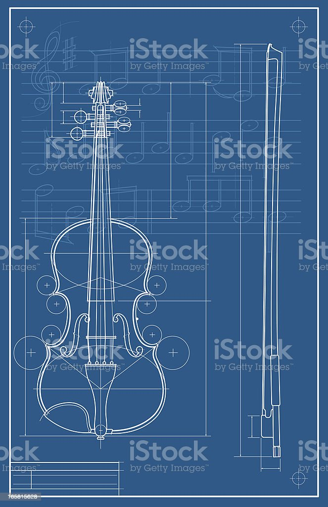 Violin Blueprint vector art illustration
