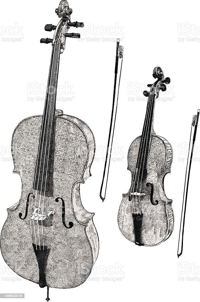 Violin & Cello vector art illustration