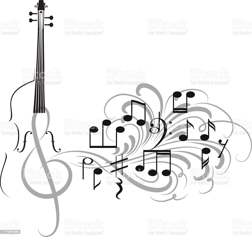 violin design vector art illustration