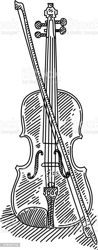 Violin Drawing vector art illustration