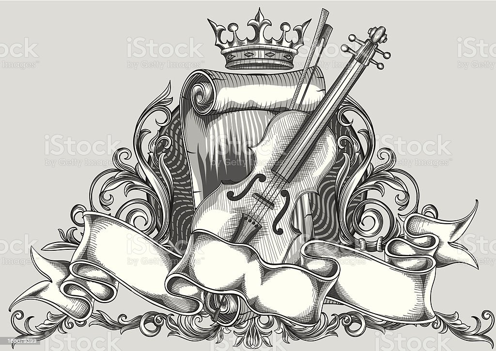 Violin emblem royalty-free stock vector art