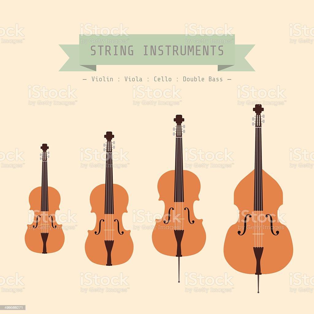 violin family vector art illustration