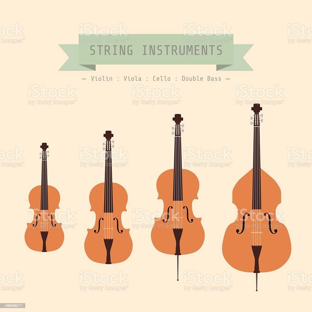 violin family vector art illustration