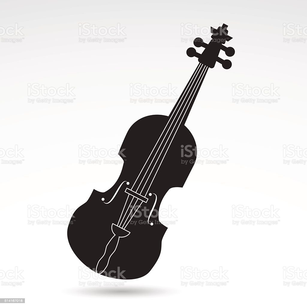 Violin, fiddle icon. vector art illustration