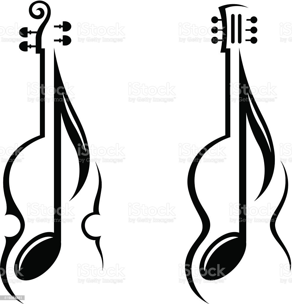 violin, guitar and note vector art illustration