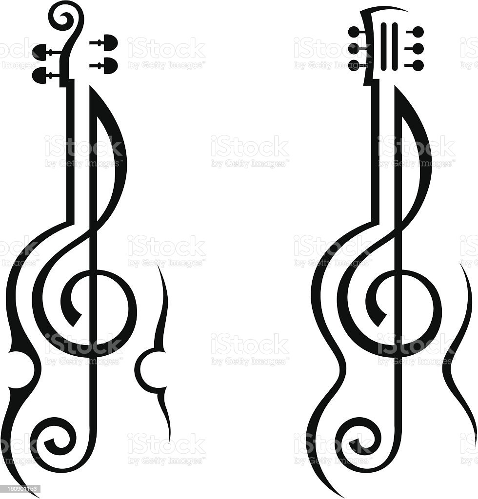 violin, guitar and treble clef vector art illustration