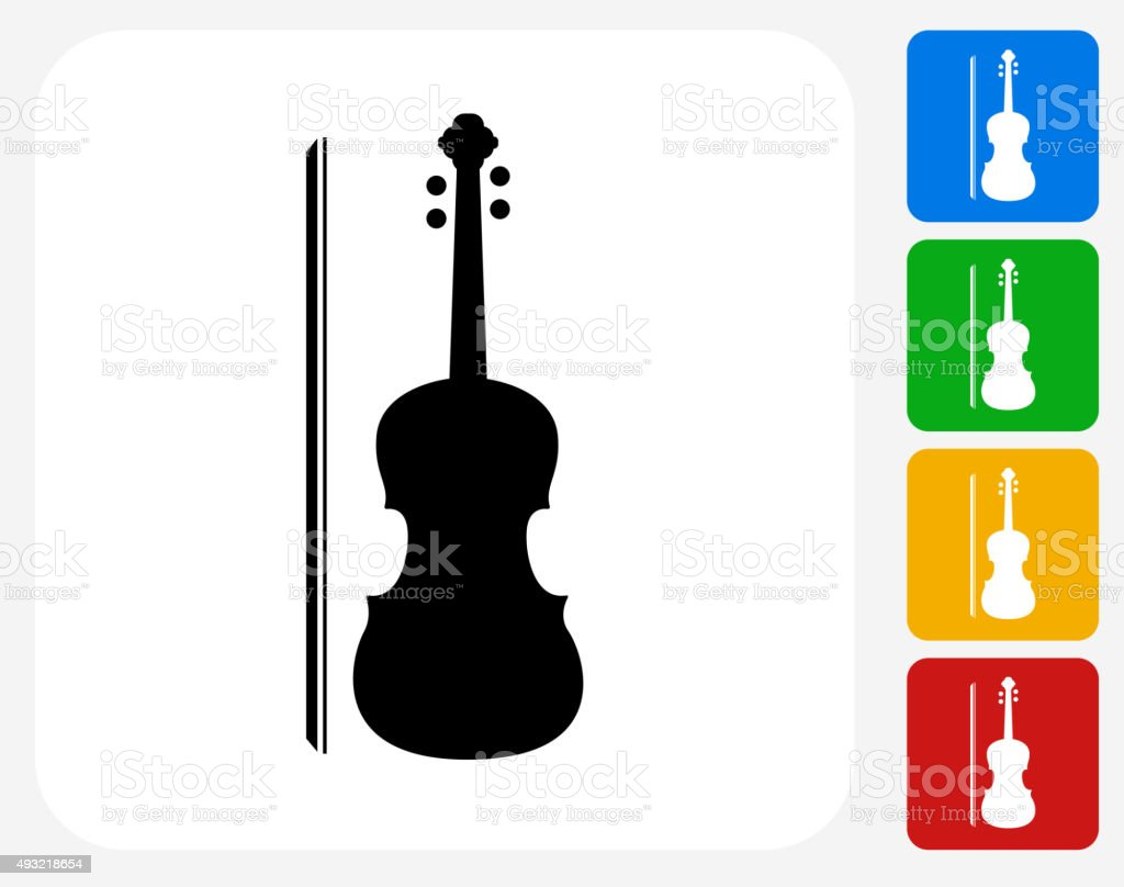 Violin Icon Flat Graphic Design vector art illustration