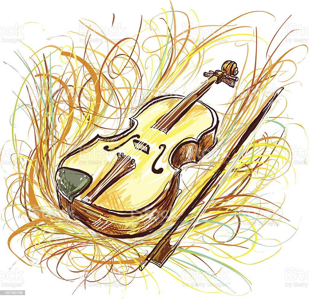 Violin in color sketch style vector art illustration