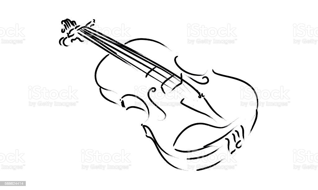 Violin Instrument drawing music sign symbol classic vector art illustration