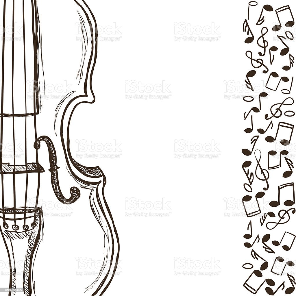 Violin or bass and music notes vector art illustration