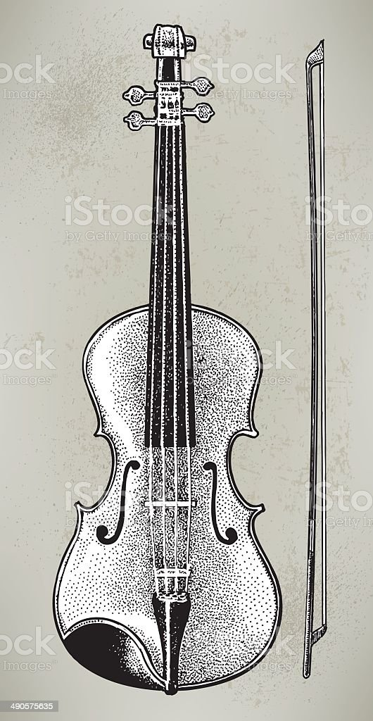 Violin or Fiddle - Muscial Instrument vector art illustration