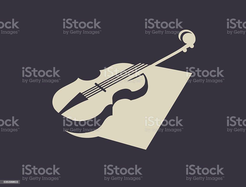 Violin silhouette vector art illustration