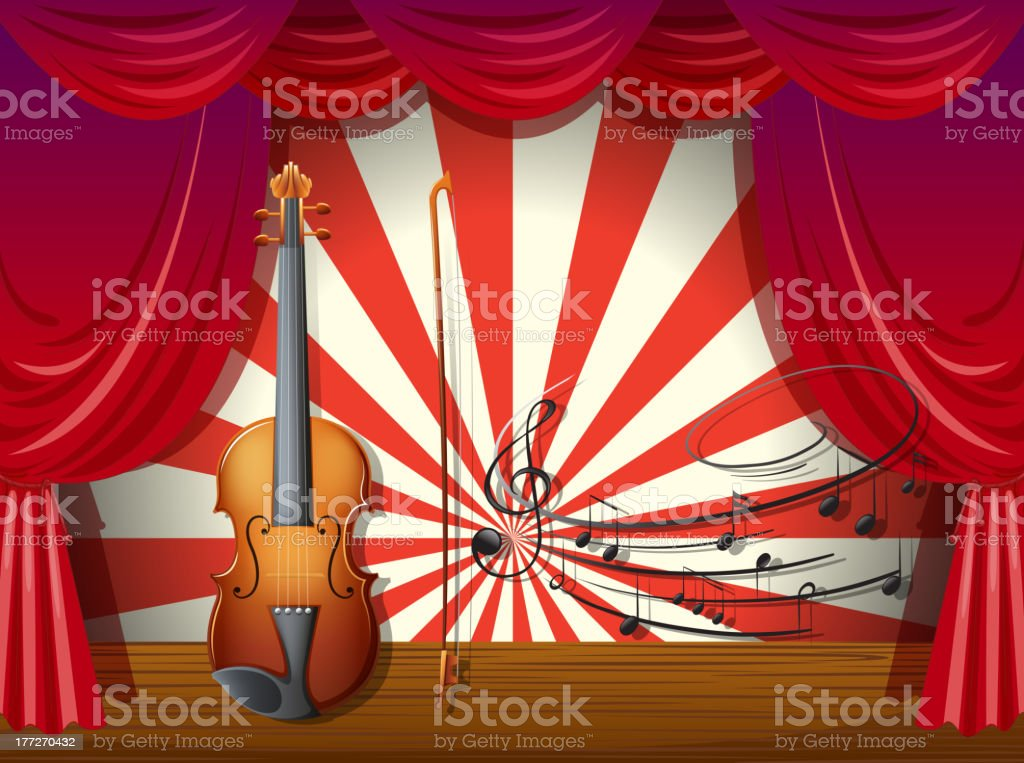 Violin with musical notes at the stage royalty-free stock vector art