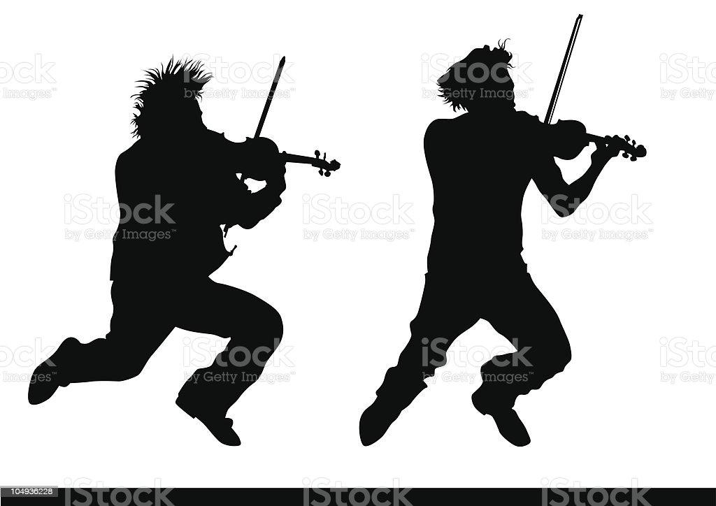 Violinist jump royalty-free stock vector art