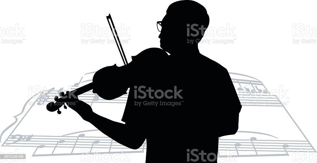Violinist Score vector art illustration