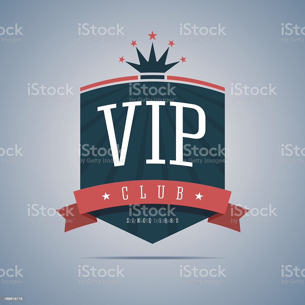 Vip club sign with ribbon, crown and stars. vector art illustration