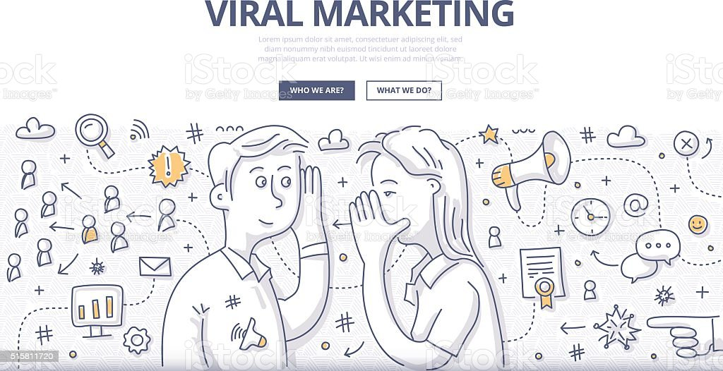 Viral Marketing Doodle Concept vector art illustration