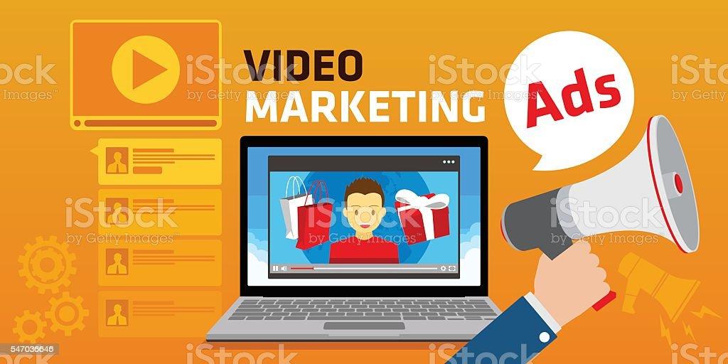 viral video marketing youtube advertising webinar vector art illustration