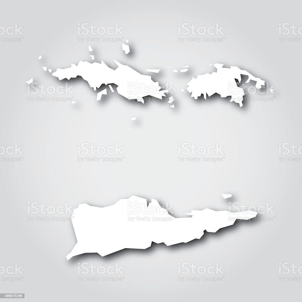 US Virgin Islands Silhouette White vector art illustration